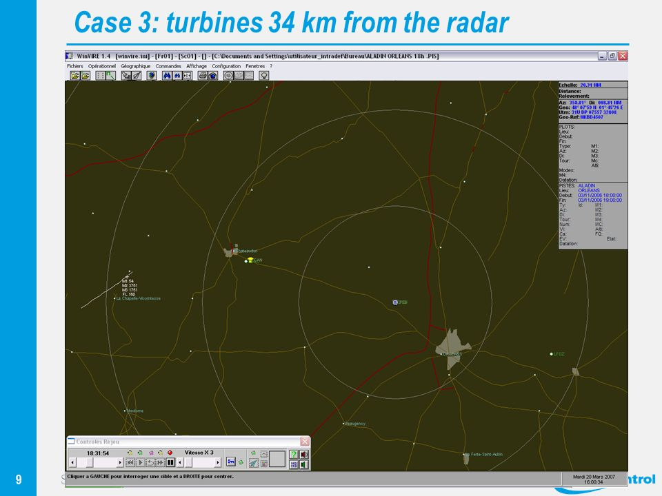 9 Sustainable Energy – Sustainable ATC Surveillance Workshop Eurocontrol, Brussels, April 2010 Case 3: turbines 34 km from the radar