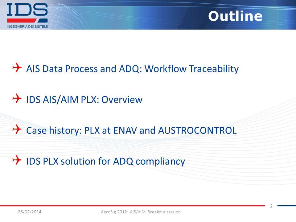 26/02/2014AeroSig 2012: AIS/AIM Breakout session 2 Outline AIS Data Process and ADQ: Workflow Traceability IDS AIS/AIM PLX: Overview Case history: PLX