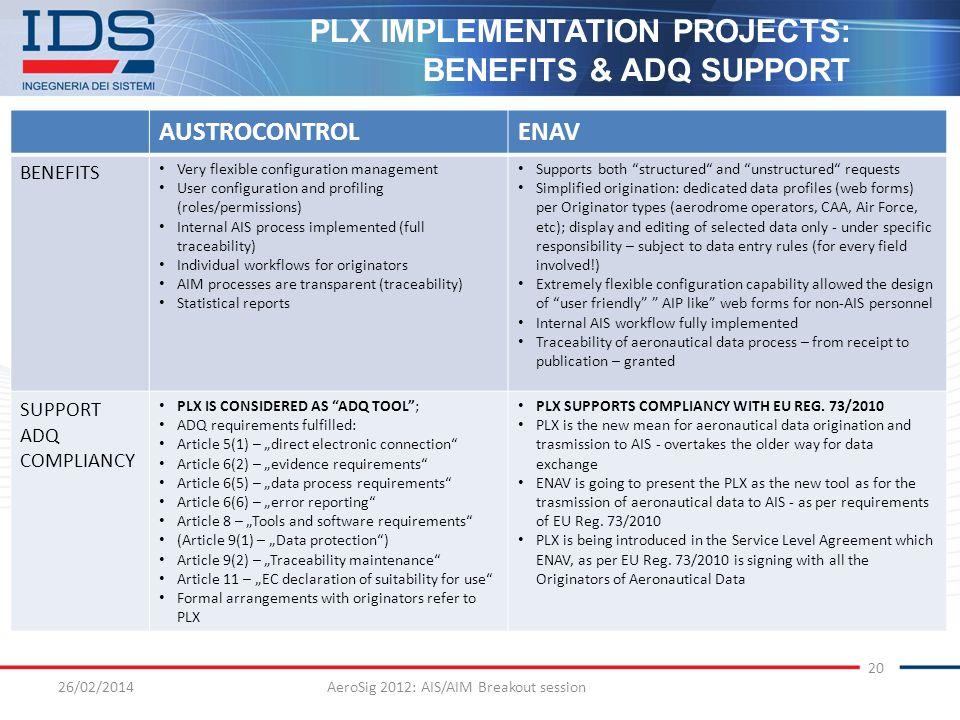 26/02/2014AeroSig 2012: AIS/AIM Breakout session 20 PLX IMPLEMENTATION PROJECTS: BENEFITS & ADQ SUPPORT AUSTROCONTROLENAV BENEFITS Very flexible confi