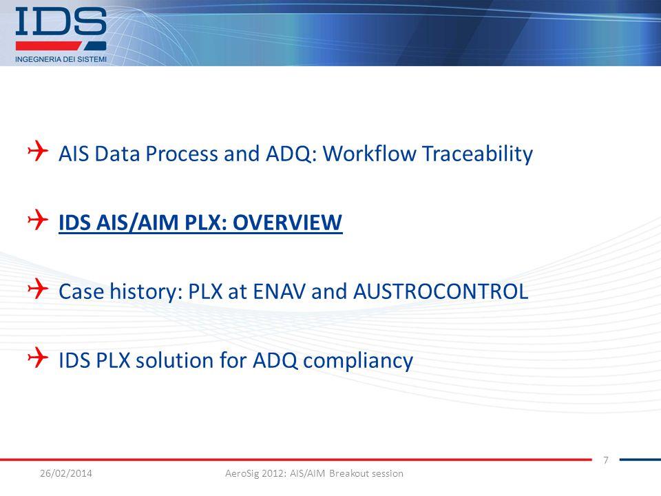 26/02/2014AeroSig 2012: AIS/AIM Breakout session 7 AIS Data Process and ADQ: Workflow Traceability IDS AIS/AIM PLX: OVERVIEW Case history: PLX at ENAV