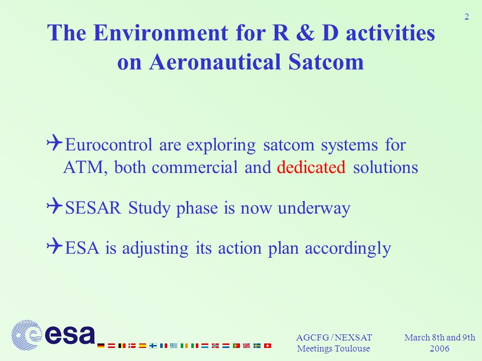 AGCFG / NEXSAT Meetings Toulouse March 8th and 9th 2006 2 The Environment for R & D activities on Aeronautical Satcom Eurocontrol are exploring satcom systems for ATM, both commercial and dedicated solutions SESAR Study phase is now underway ESA is adjusting its action plan accordingly