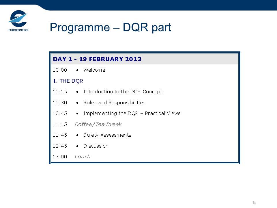15 Programme – DQR part