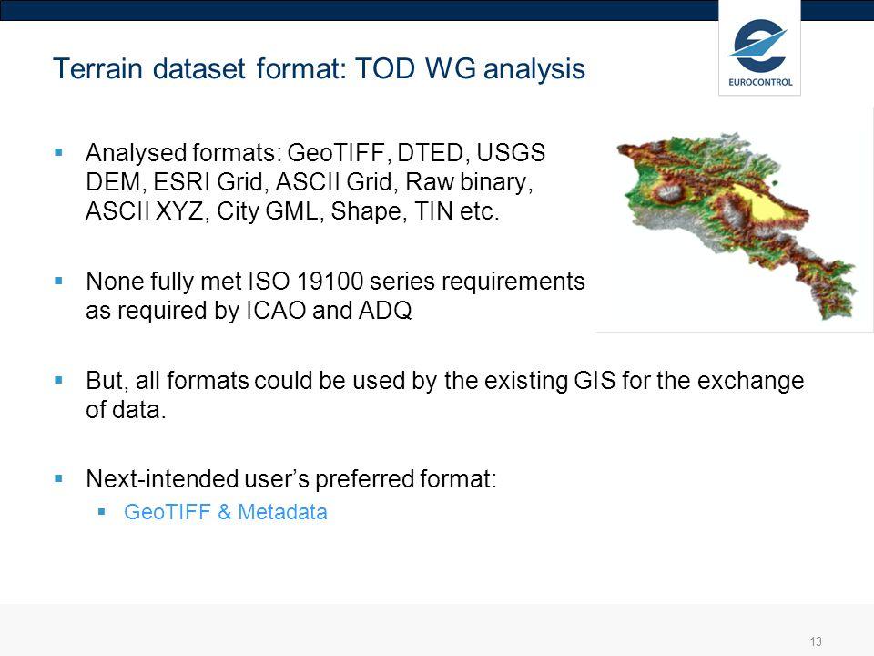 13 Terrain dataset format: TOD WG analysis Analysed formats: GeoTIFF, DTED, USGS DEM, ESRI Grid, ASCII Grid, Raw binary, ASCII XYZ, City GML, Shape, T