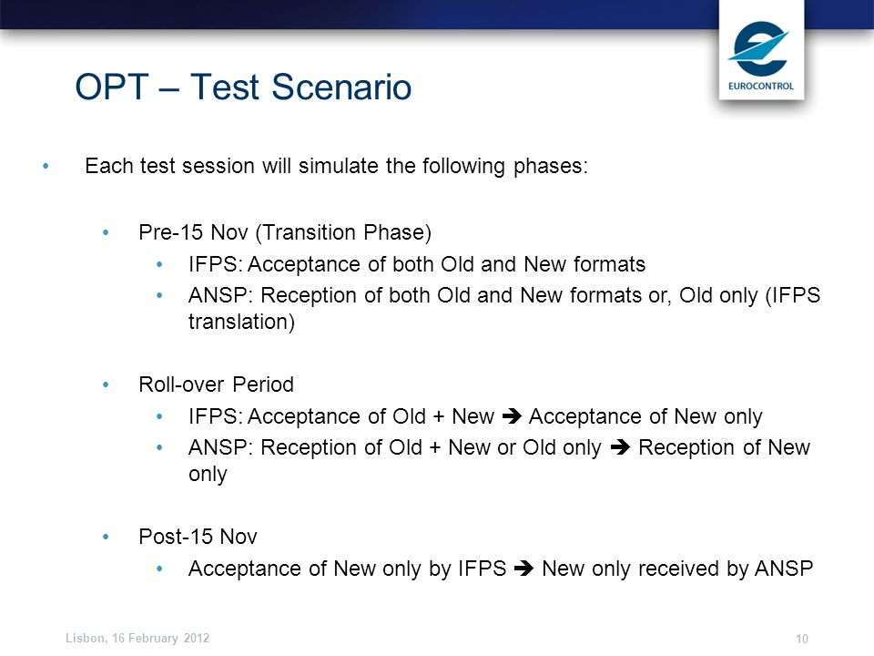 Lisbon, 16 February 2012 10 OPT – Test Scenario Each test session will simulate the following phases: Pre-15 Nov (Transition Phase) IFPS: Acceptance o