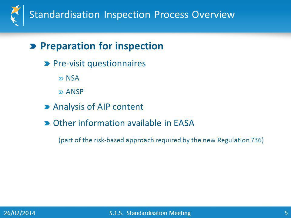 5 Preparation for inspection Pre-visit questionnaires NSA ANSP Analysis of AIP content Other information available in EASA (part of the risk-based app