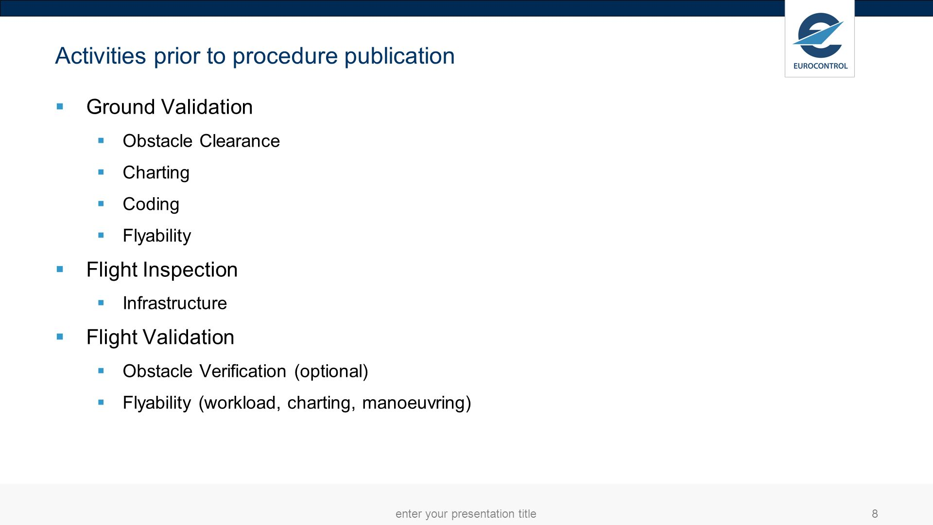 Activities prior to approach procedure publication (cont.) Data Origination (surveyor/designer) Data Publication (States ) Validate the procedure here.