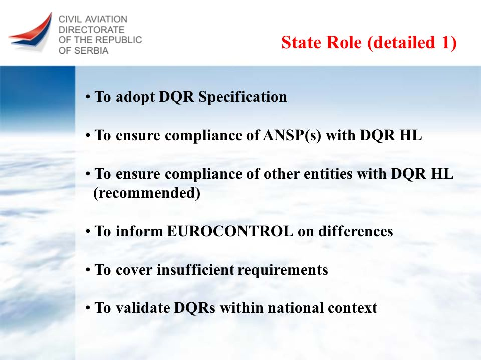 State Role (detailed 1) To adopt DQR Specification To ensure compliance of ANSP(s) with DQR HL To ensure compliance of other entities with DQR HL (rec