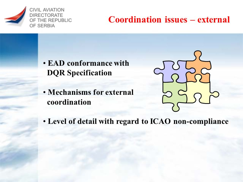 Coordination issues – external EAD conformance with DQR Specification Mechanisms for external coordination Level of detail with regard to ICAO non-com