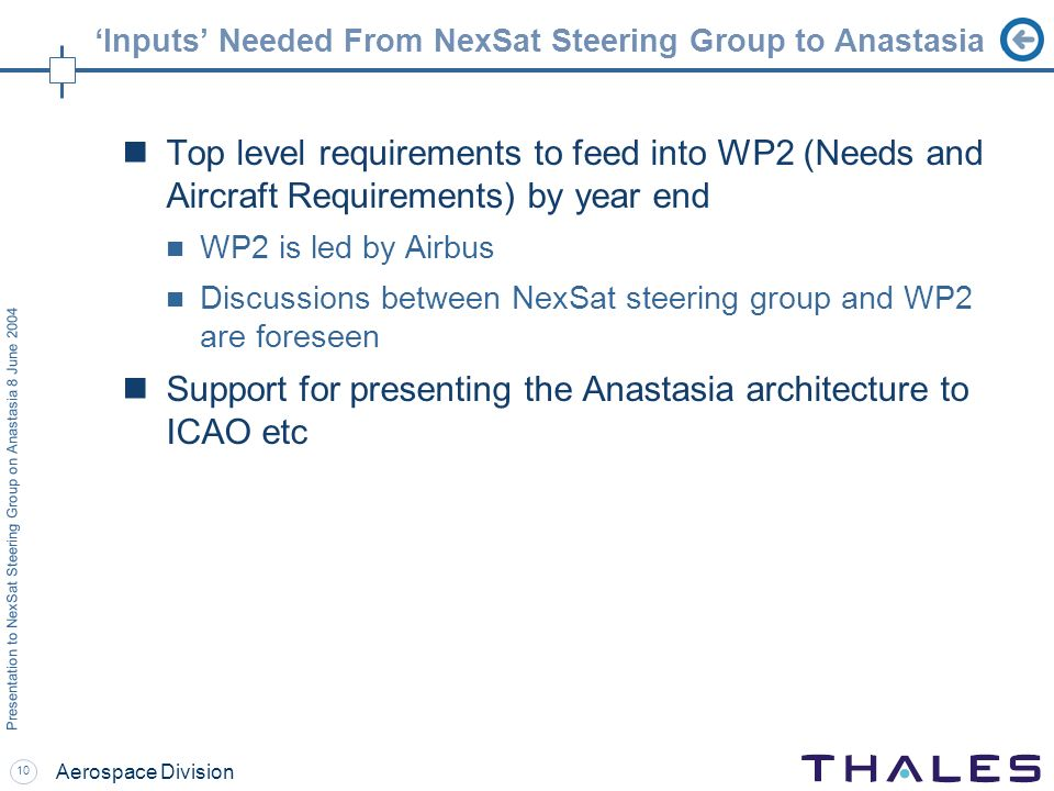 10 Presentation to NexSat Steering Group on Anastasia 8 June 2004 Aerospace Division Inputs Needed From NexSat Steering Group to Anastasia Top level requirements to feed into WP2 (Needs and Aircraft Requirements) by year end WP2 is led by Airbus Discussions between NexSat steering group and WP2 are foreseen Support for presenting the Anastasia architecture to ICAO etc