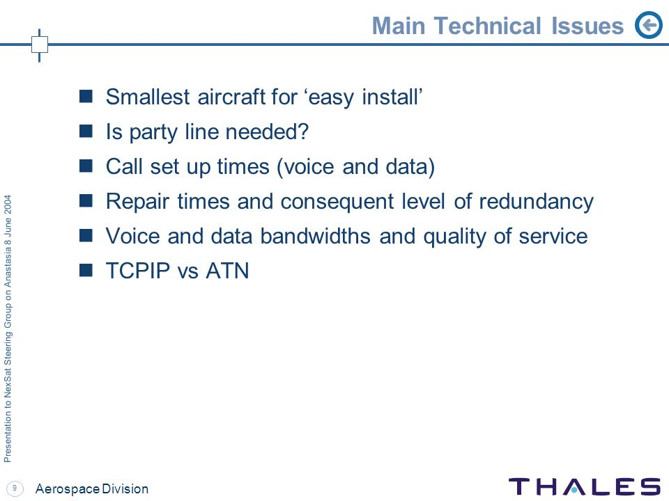 9 Presentation to NexSat Steering Group on Anastasia 8 June 2004 Aerospace Division Main Technical Issues Smallest aircraft for easy install Is party line needed.