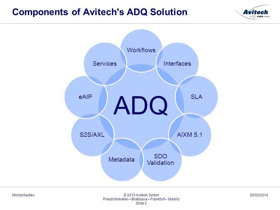 Components of Avitech's ADQ Solution 26/02/2014Michal Kadlec © 2013 Avitech GmbH Friedrichshafen – Bratislava – Frankfurt – Madrid Slide 3 ADQ Workflo