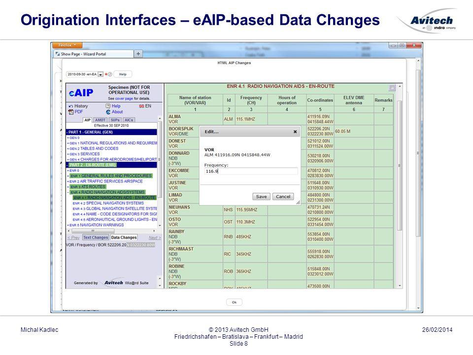 Origination Interfaces – eAIP-based Data Changes 26/02/2014Michal Kadlec © 2013 Avitech GmbH Friedrichshafen – Bratislava – Frankfurt – Madrid Slide 8