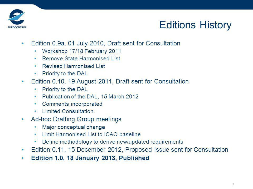 3 Editions History Edition 0.9a, 01 July 2010, Draft sent for Consultation Workshop 17/18 February 2011 Remove State Harmonised List Revised Harmonised List Priority to the DAL Edition 0.10, 19 August 2011, Draft sent for Consultation Priority to the DAL Publication of the DAL, 15 March 2012 Comments incorporated Limited Consultation Ad-hoc Drafting Group meetings Major conceptual change Limit Harmonised List to ICAO baseline Define methodology to derive new/updated requirements Edition 0.11, 15 December 2012, Proposed Issue sent for Consultation Edition 1.0, 18 January 2013, Published