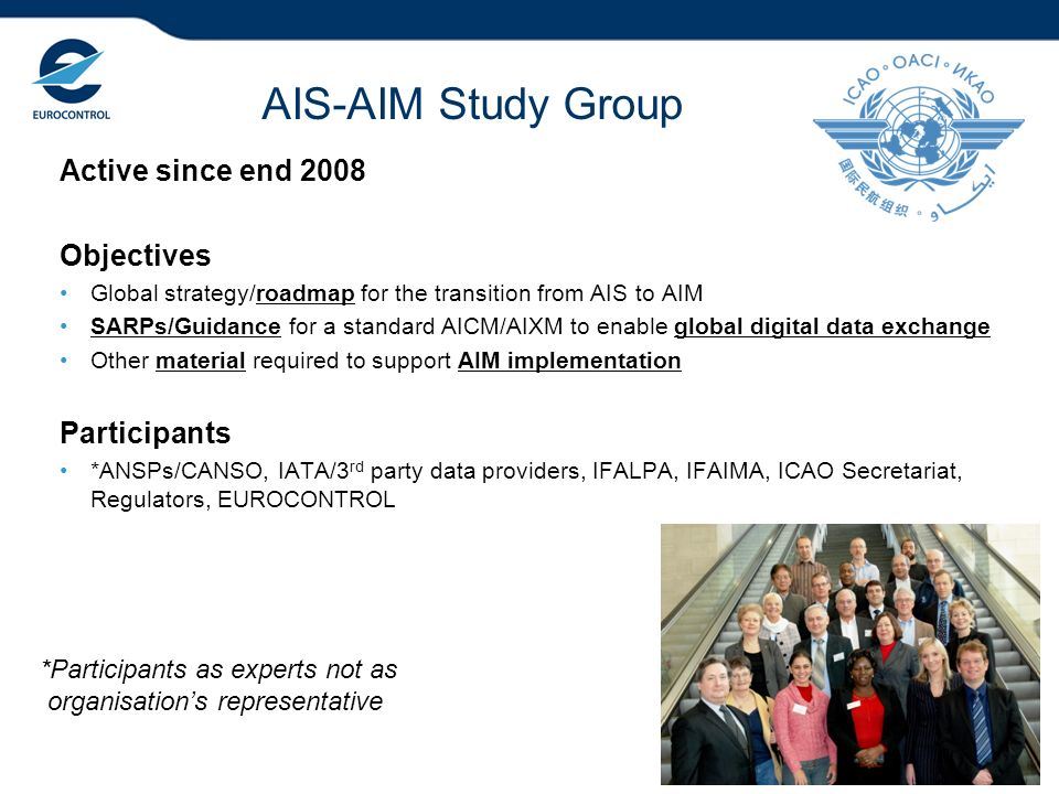 2 *Participants as experts not as organisations representative AIS-AIM Study Group Active since end 2008 Objectives Global strategy/roadmap for the tr