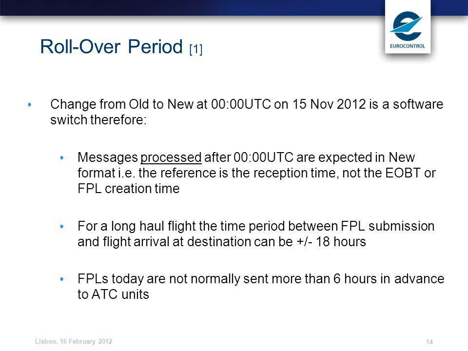 Lisbon, 16 February 2012 14 Roll-Over Period [1] Change from Old to New at 00:00UTC on 15 Nov 2012 is a software switch therefore: Messages processed after 00:00UTC are expected in New format i.e.