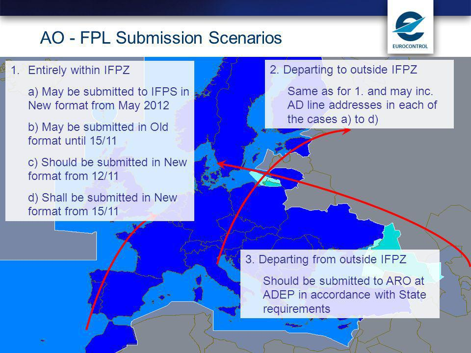 Lisbon, 16 February AO - FPL Submission Scenarios 1.Entirely within IFPZ a) May be submitted to IFPS in New format from May 2012 b) May be submitted in Old format until 15/11 c) Should be submitted in New format from 12/11 d) Shall be submitted in New format from 15/11 2.