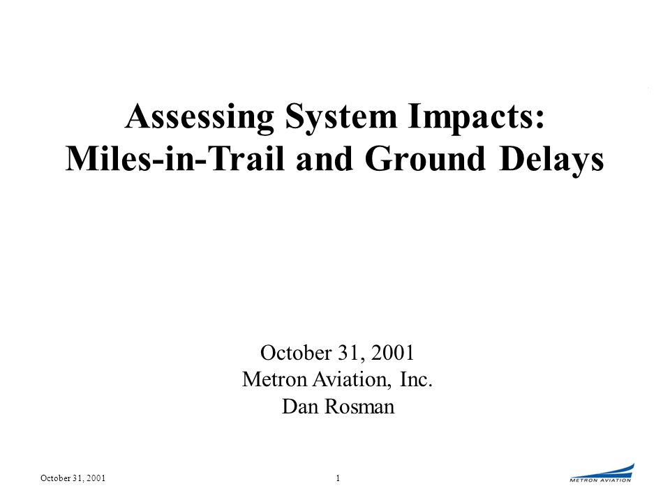 October 31, 200112 Simulation of LAX Event 5/1/2001 Program 1630Z to 2359Z, LAX at 60/64 Arrivals per Hour Bars show arrival sector loading and anticipated delay to be absorbed under simulated flow.