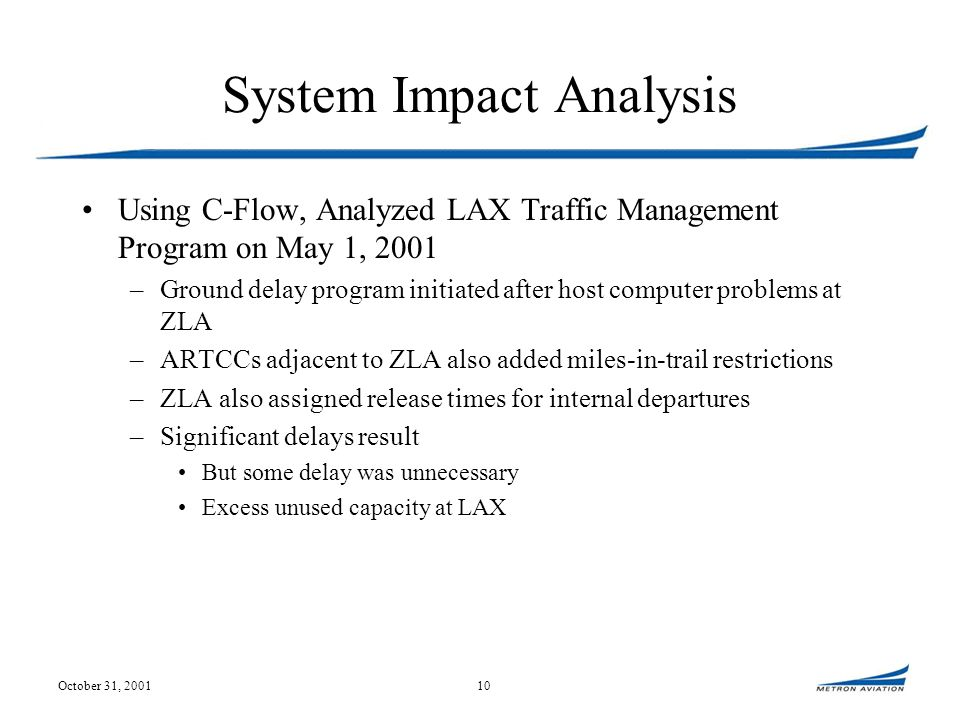 October 31, 200110 System Impact Analysis Using C-Flow, Analyzed LAX Traffic Management Program on May 1, 2001 –Ground delay program initiated after host computer problems at ZLA –ARTCCs adjacent to ZLA also added miles-in-trail restrictions –ZLA also assigned release times for internal departures –Significant delays result But some delay was unnecessary Excess unused capacity at LAX