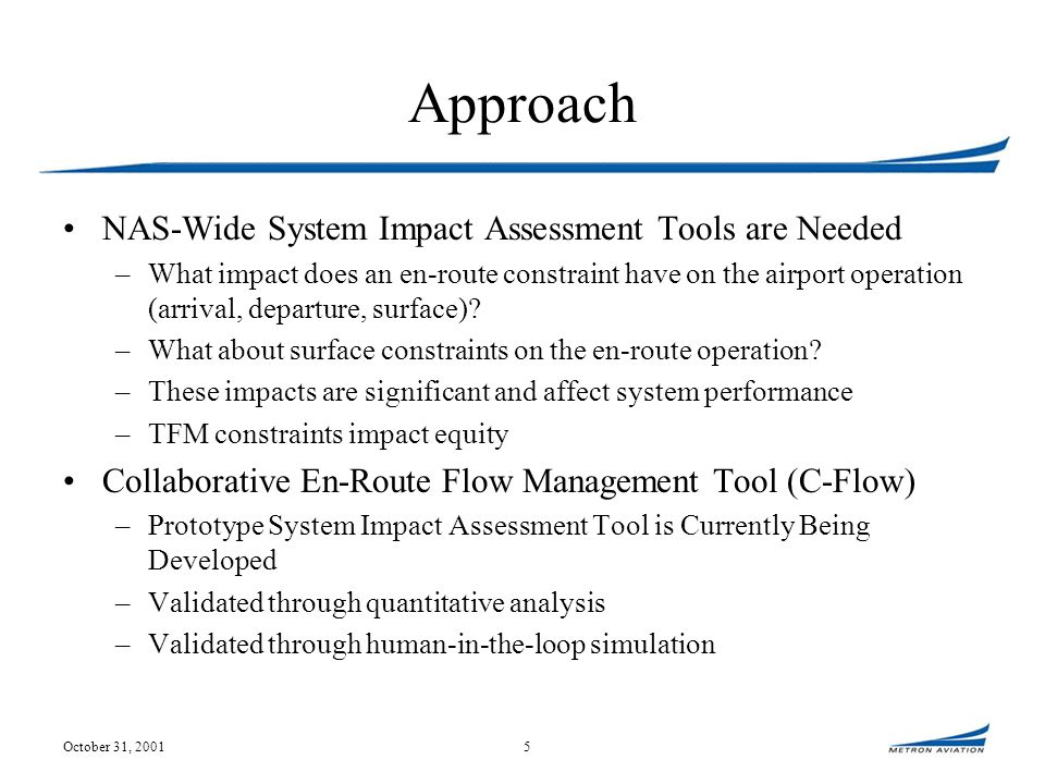 October 31, 20015 Approach NAS-Wide System Impact Assessment Tools are Needed –What impact does an en-route constraint have on the airport operation (arrival, departure, surface).