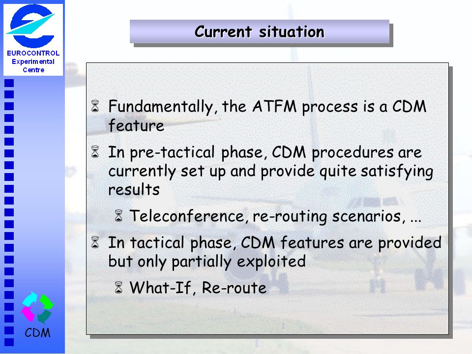 CDM 6Fundamentally, the ATFM process is a CDM feature 6In pre-tactical phase, CDM procedures are currently set up and provide quite satisfying results 6Teleconference, re-routing scenarios,...