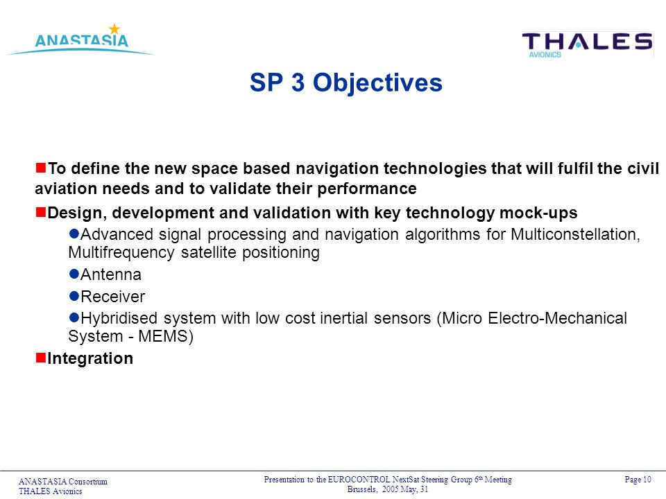 ANASTASIA Consortium THALES Avionics Presentation to the EUROCONTROL NextSat Steering Group 6 th Meeting Brussels, 2005 May, 31 Page 10 SP 3 Objective