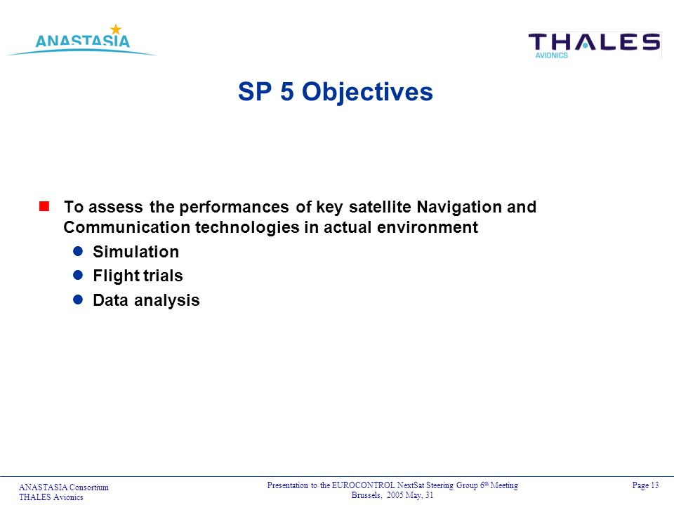 ANASTASIA Consortium THALES Avionics Presentation to the EUROCONTROL NextSat Steering Group 6 th Meeting Brussels, 2005 May, 31 Page 13 SP 5 Objective