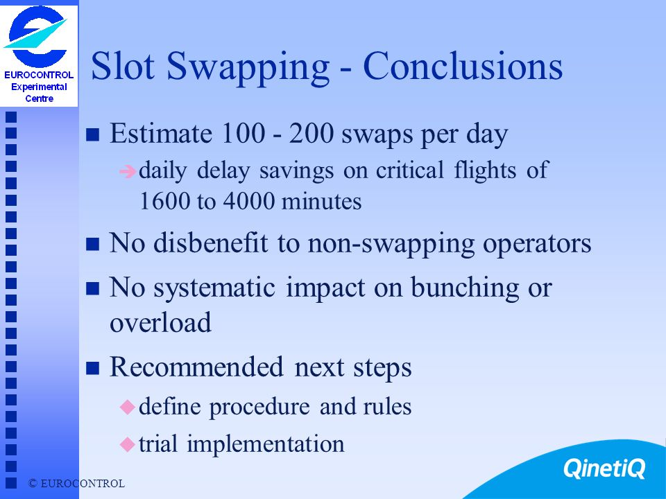 © EUROCONTROL Estimate Number of Slot Swaps Each flight may swap only once (random selection) 1 in 3 feasible swaps is required (random selection)