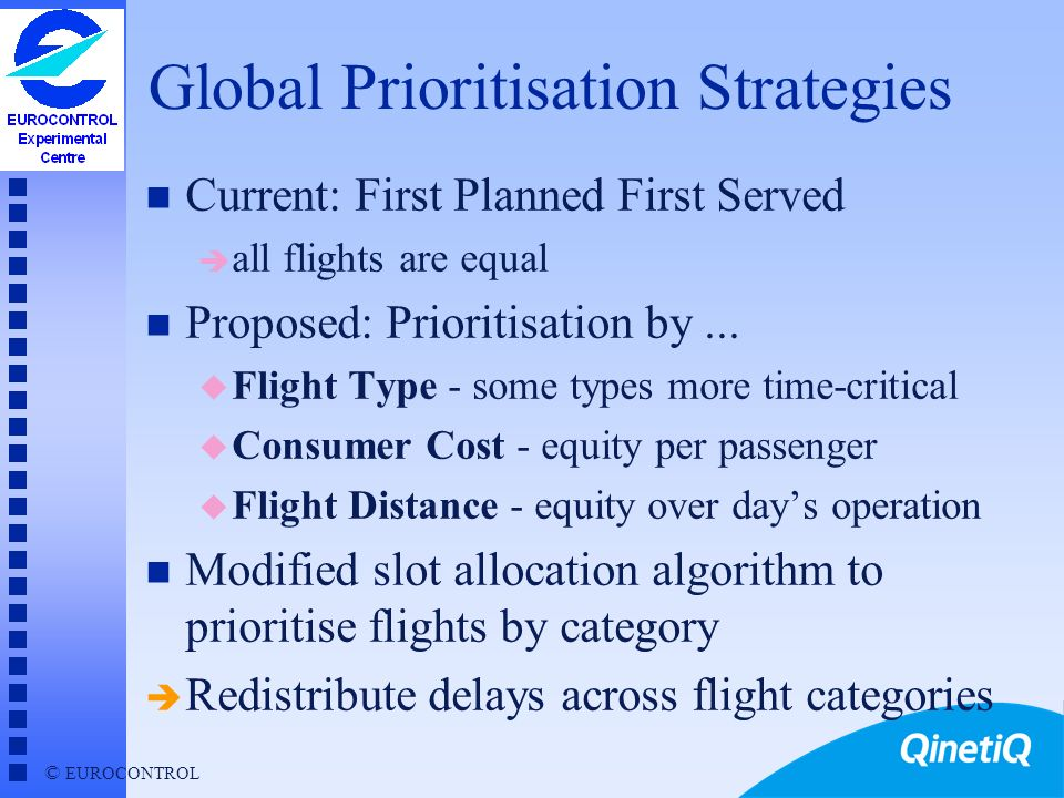© EUROCONTROL Global Solutions - Slot Allocation Prioritised by: Flight Type Least Consumer Cost Flight Distance Overview of Strategies CDM Procedures