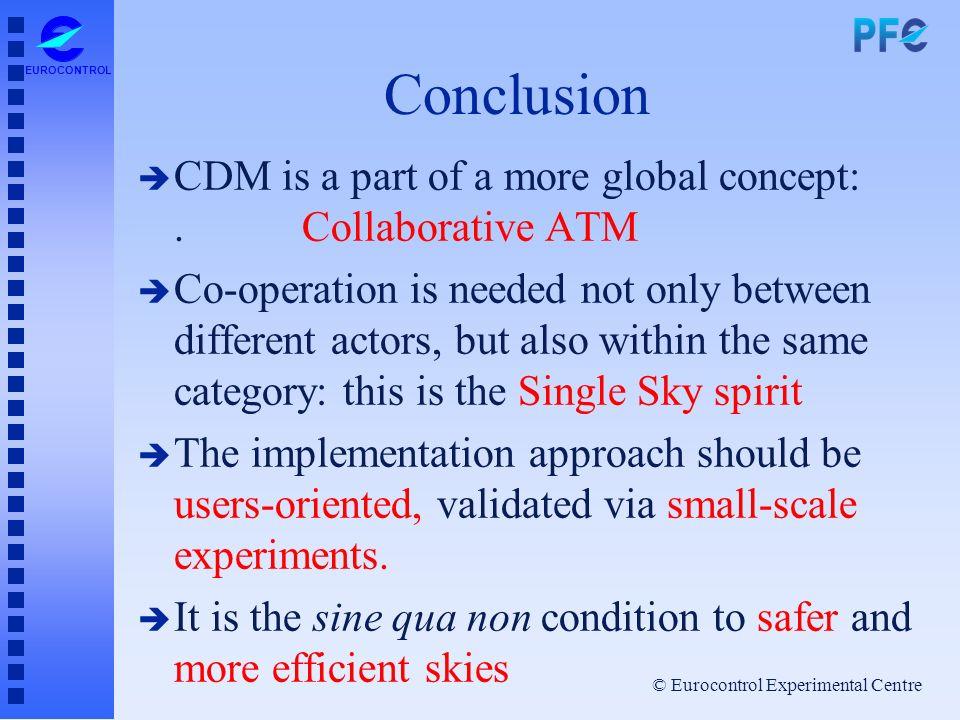 © Eurocontrol Experimental Centre EUROCONTROL Conclusion è CDM is a part of a more global concept:. Collaborative ATM è Co-operation is needed not onl