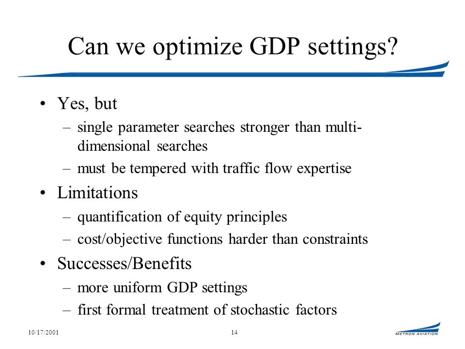 10/17/200114 Can we optimize GDP settings.