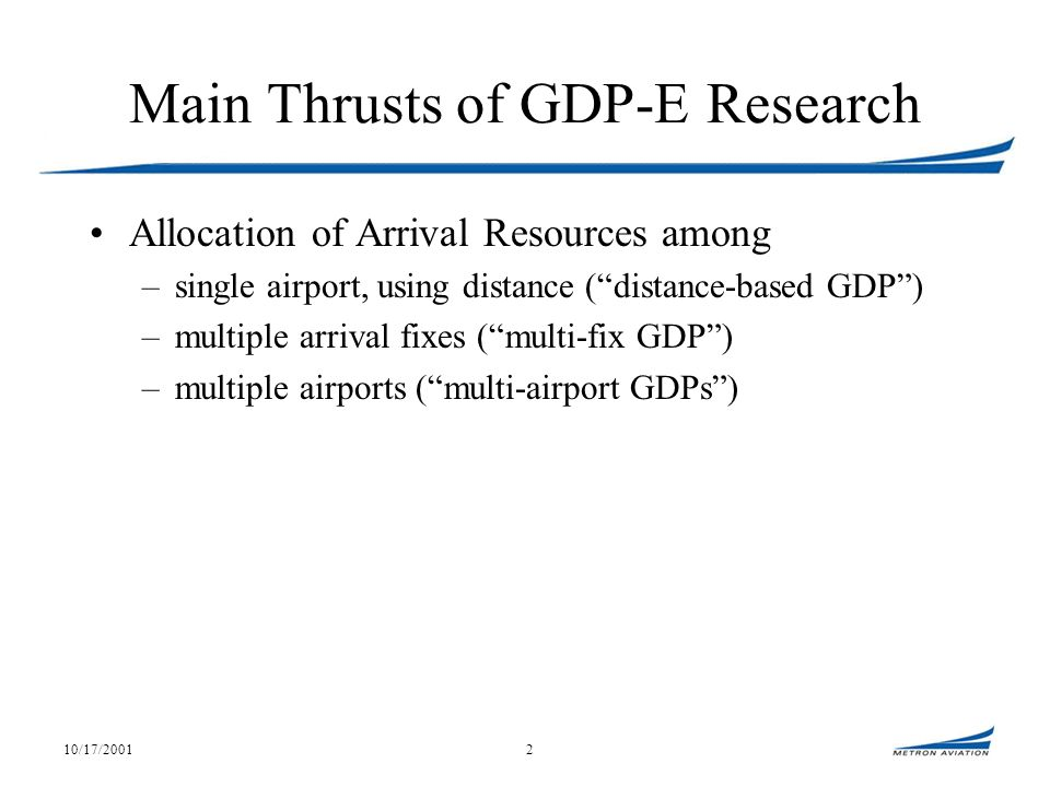 10/17/20012 Main Thrusts of GDP-E Research Allocation of Arrival Resources among –single airport, using distance (distance-based GDP) –multiple arrival fixes (multi-fix GDP) –multiple airports (multi-airport GDPs)