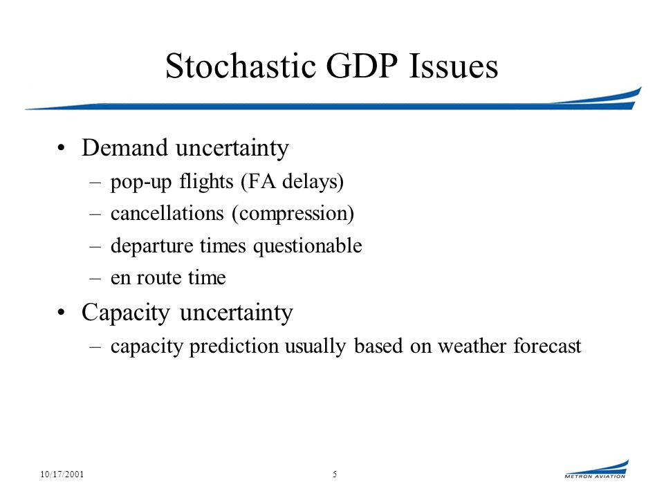 10/17/20015 Stochastic GDP Issues Demand uncertainty –pop-up flights (FA delays) –cancellations (compression) –departure times questionable –en route time Capacity uncertainty –capacity prediction usually based on weather forecast