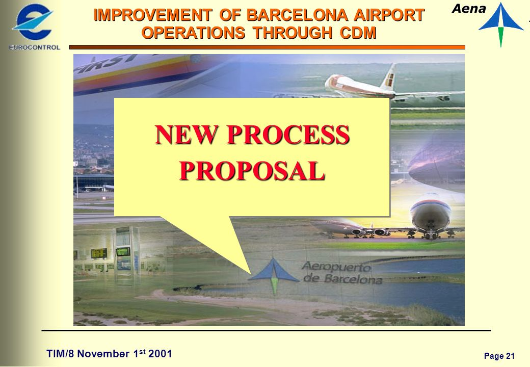 Page 21 IMPROVEMENT OF BARCELONA AIRPORT OPERATIONS THROUGH CDM TIM/8 November 1 st 2001 NEW PROCESS PROPOSAL