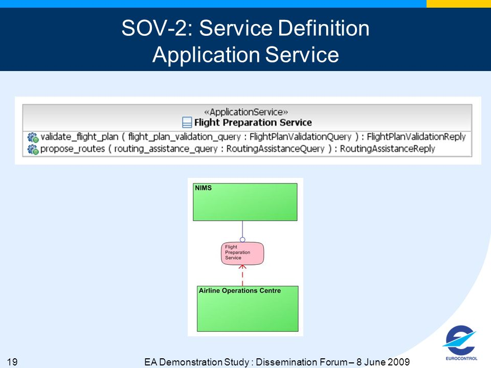 19EA Demonstration Study : Dissemination Forum – 8 June 2009 SOV-2: Service Definition Application Service