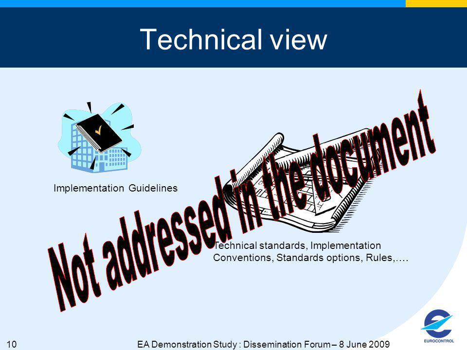 10EA Demonstration Study : Dissemination Forum – 8 June 2009 Technical view Technical standards, Implementation Conventions, Standards options, Rules,….