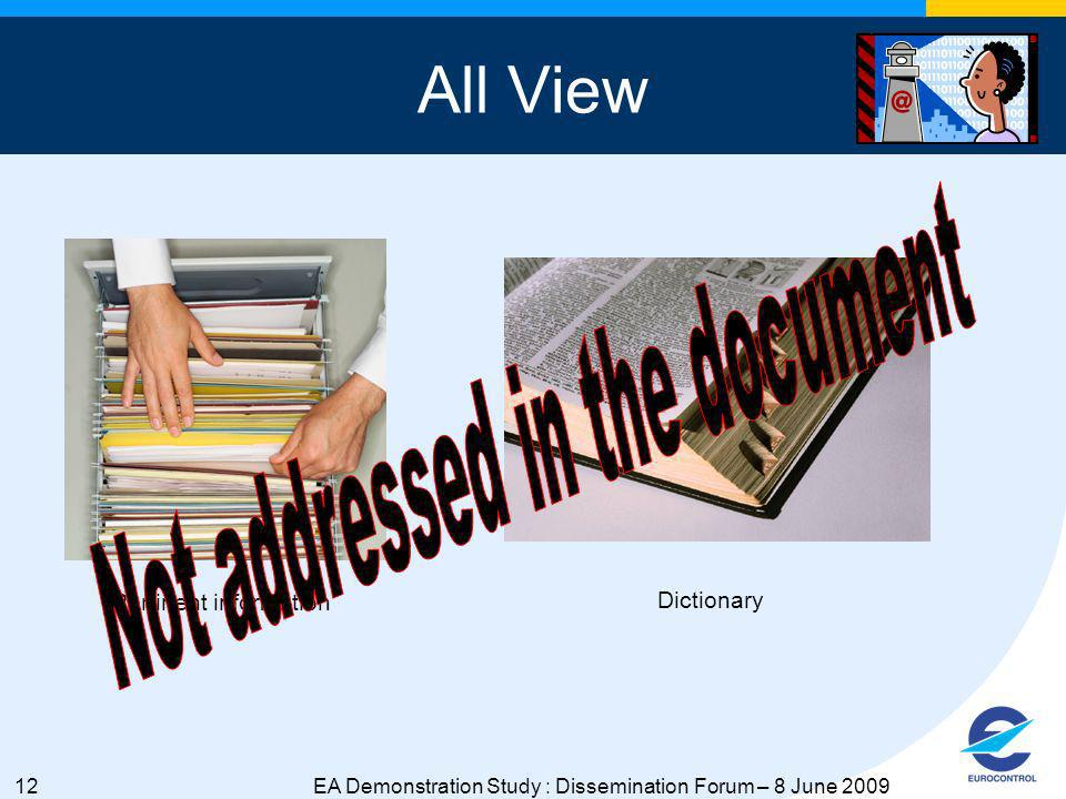 12EA Demonstration Study : Dissemination Forum – 8 June 2009 All View Pertinent information Dictionary