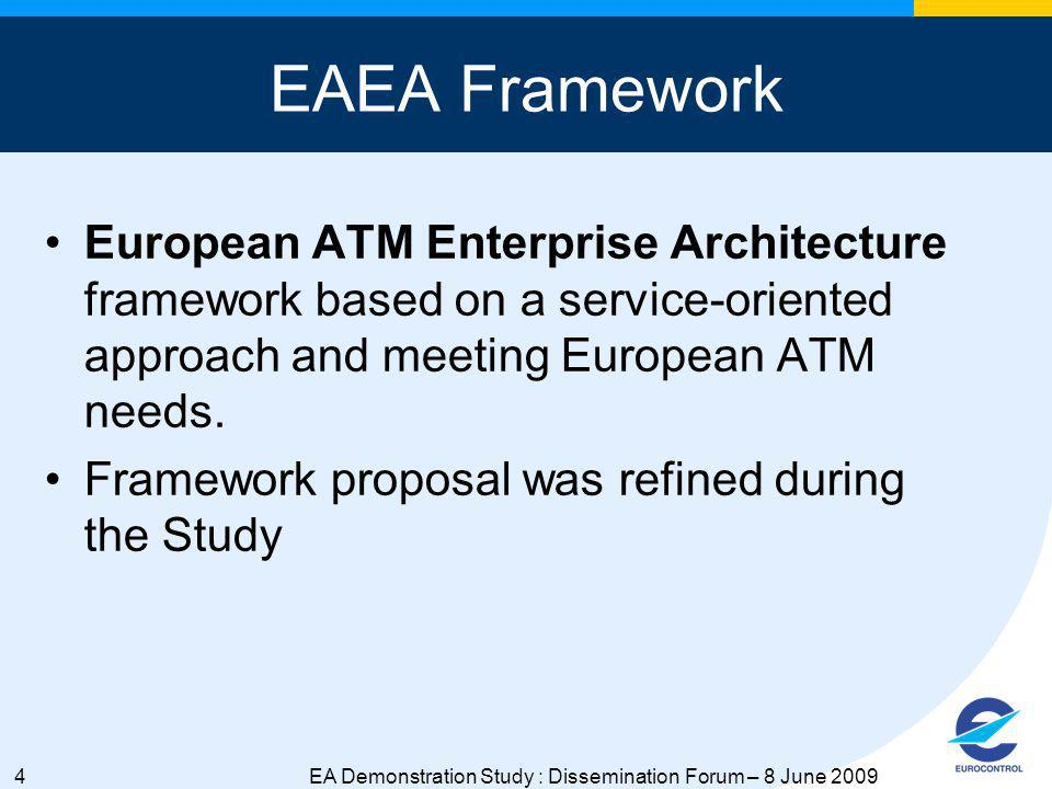 4EA Demonstration Study : Dissemination Forum – 8 June 2009 EAEA Framework European ATM Enterprise Architecture framework based on a service-oriented approach and meeting European ATM needs.