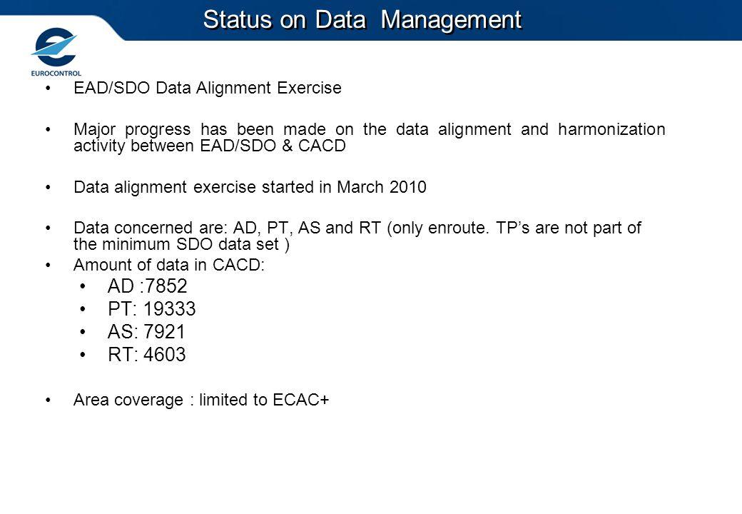 EAD/SDO Data Alignment Exercise Major progress has been made on the data alignment and harmonization activity between EAD/SDO & CACD Data alignment ex