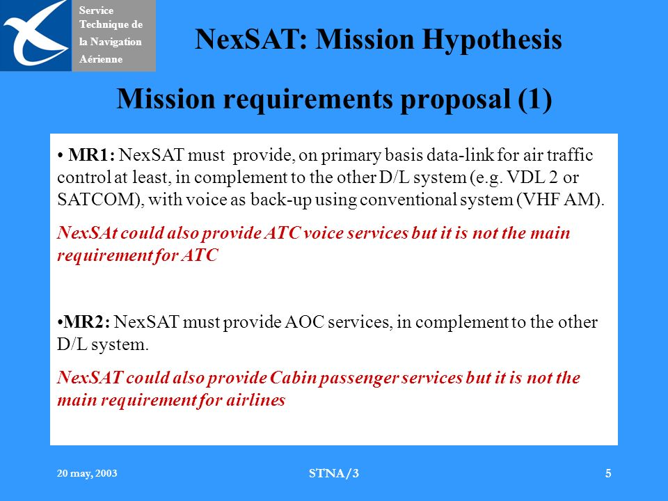 Service Technique de la Navigation Aérienne NexSAT: Mission Hypothesis 20 may, 2003 STNA/35 Mission requirements proposal (1) MR1: NexSAT must provide