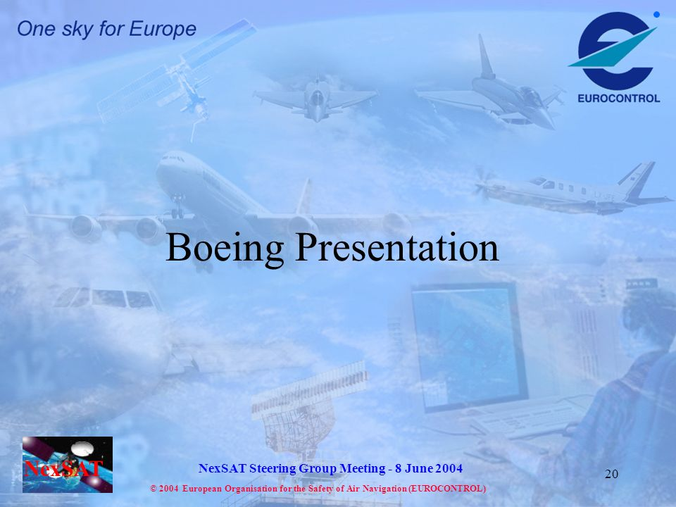 NexSAT NexSAT Steering Group Meeting - 8 June 2004 © 2004 European Organisation for the Safety of Air Navigation (EUROCONTROL) 20 Boeing Presentation