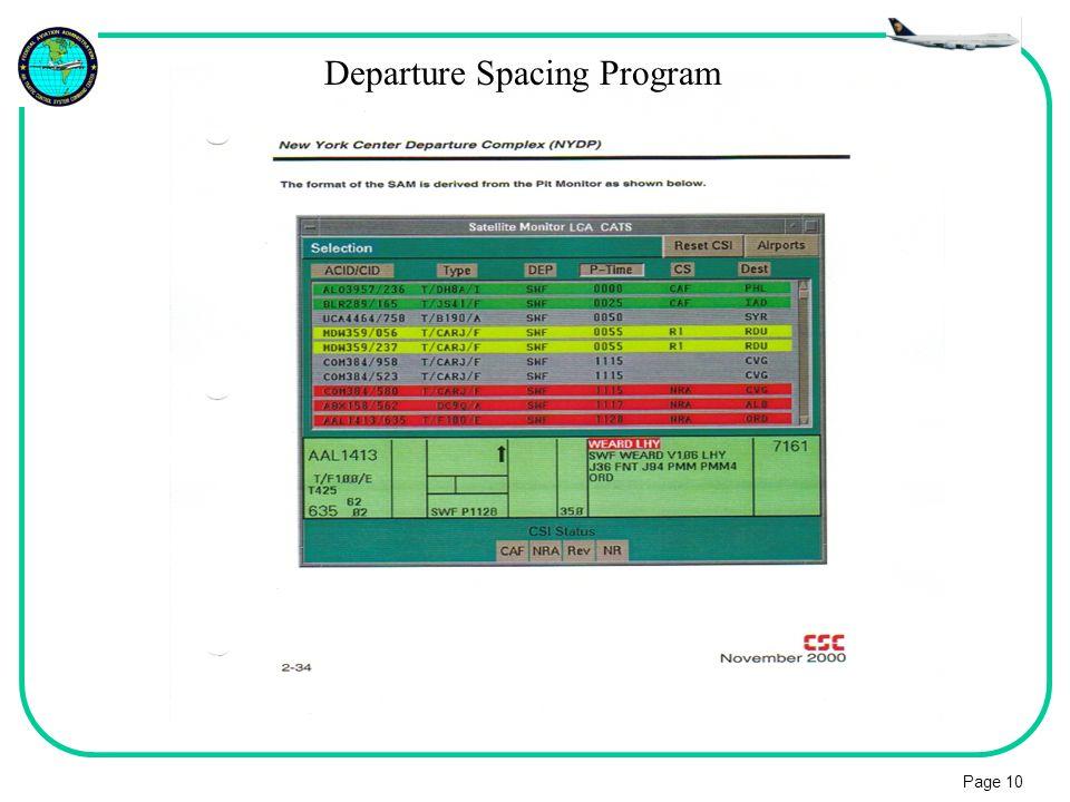 Page 10 Departure Spacing Program