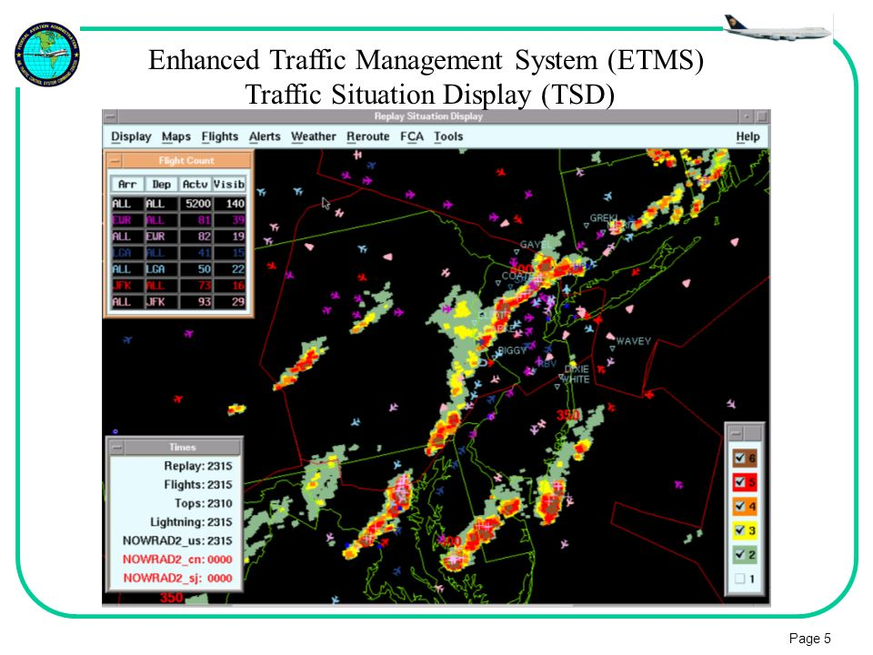 Page 5 Enhanced Traffic Management System (ETMS) Traffic Situation Display (TSD)
