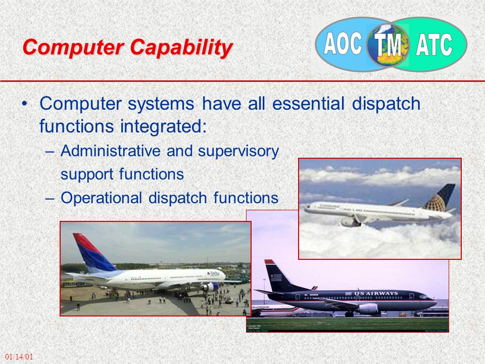 01/14/01 Computer Capability Computer systems have all essential dispatch functions integrated: –Administrative and supervisory support functions –Operational dispatch functions