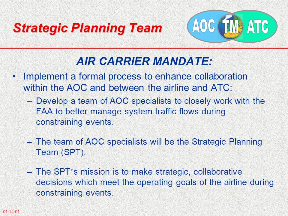 01/14/01 Strategic Planning Team AIR CARRIER MANDATE: Implement a formal process to enhance collaboration within the AOC and between the airline and A