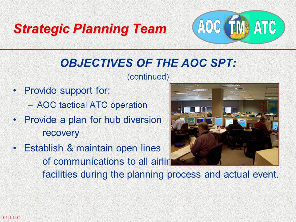 01/14/01 Strategic Planning Team OBJECTIVES OF THE AOC SPT: (continued) Provide support for: –AOC tactical ATC operation Provide a plan for hub divers