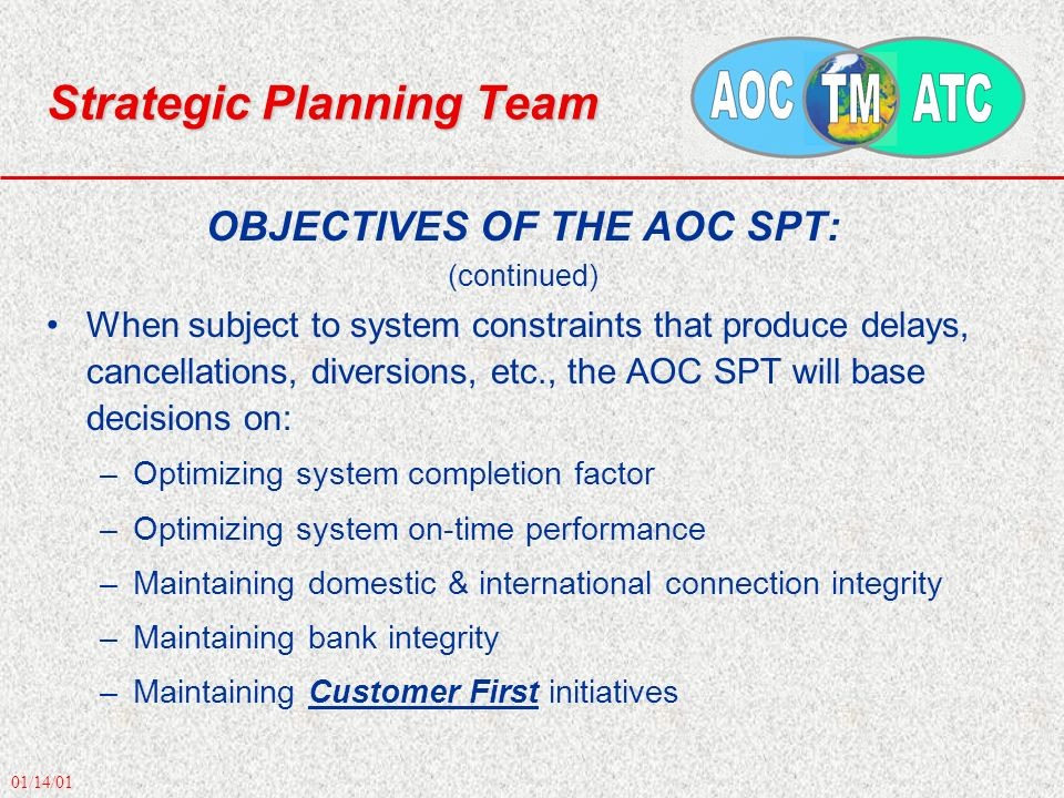 01/14/01 Strategic Planning Team OBJECTIVES OF THE AOC SPT: (continued) When subject to system constraints that produce delays, cancellations, diversions, etc., the AOC SPT will base decisions on: –Optimizing system completion factor –Optimizing system on-time performance –Maintaining domestic & international connection integrity –Maintaining bank integrity –Maintaining Customer First initiatives