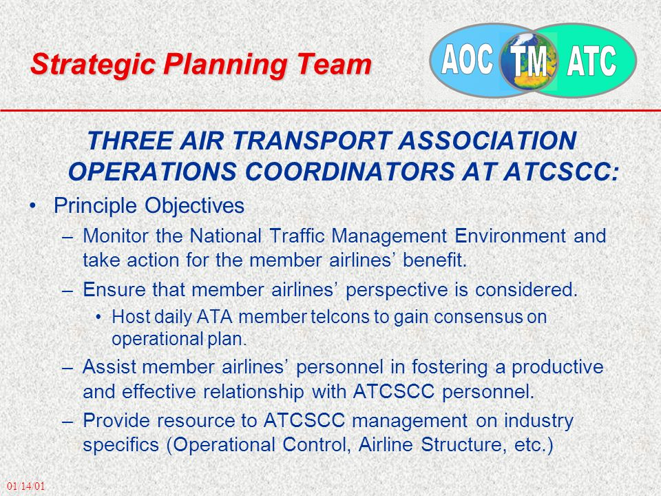 01/14/01 Strategic Planning Team THREE AIR TRANSPORT ASSOCIATION OPERATIONS COORDINATORS AT ATCSCC: Principle Objectives –Monitor the National Traffic Management Environment and take action for the member airlines benefit.