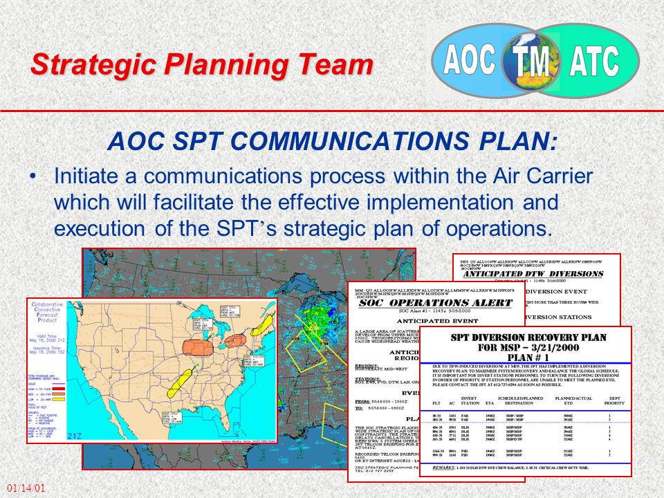 01/14/01 Strategic Planning Team AOC SPT COMMUNICATIONS PLAN: Initiate a communications process within the Air Carrier which will facilitate the effective implementation and execution of the SPT s strategic plan of operations.