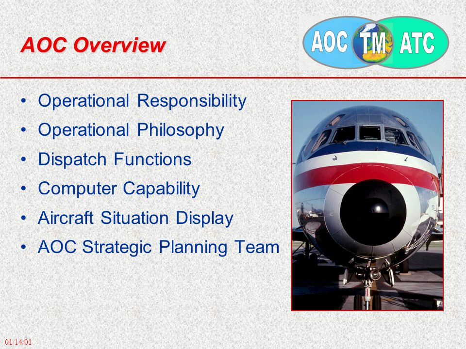 01/14/01 AOC Overview Operational Responsibility Operational Philosophy Dispatch Functions Computer Capability Aircraft Situation Display AOC Strategi