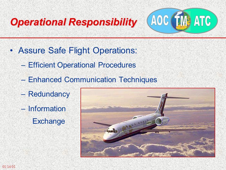 01/14/01 Operational Responsibility Assure Safe Flight Operations: –Efficient Operational Procedures –Enhanced Communication Techniques –Redundancy –I